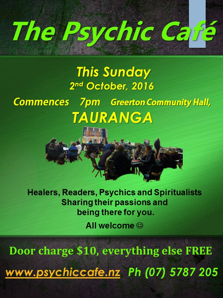 Psychic Cafe this Sunady 2nd October 2016