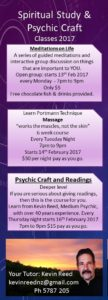 Exciting Spiritual/Psychic/Healing classes starting February
