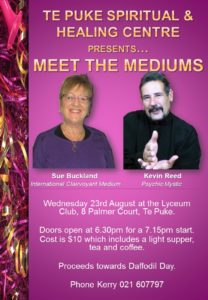 Mediums Sue Buckland and Kevin Reed to speak in Te Puke – A must see!