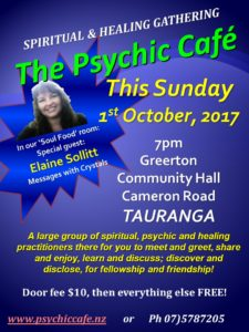 Read more about the article Psychic Cafe Sunday 1st October 2017 – In our 'Soul Room' Elaine Sollitt, Messages with Crystals!