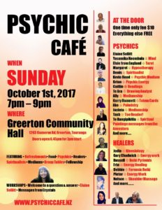 SPECIAL PSYCHIC CAFE EVENT, THIS SUNDAY, 1st OCTOBER 2017