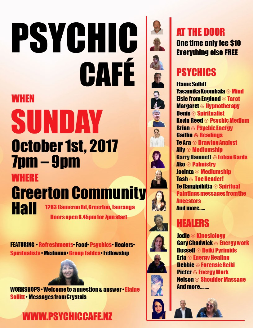 You are currently viewing SPECIAL PSYCHIC CAFE EVENT, THIS SUNDAY, 1st OCTOBER 2017