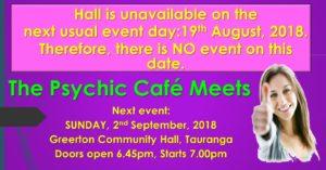 Psychic Cafe next event: 2nd September, 2018