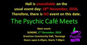 Next Psychic Cafe Meet 2nd December 2018!!!