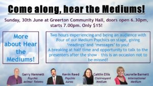 Hear the Mediums 30th June, a Sunday!